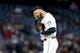 Apr 27, 2019; Seattle, WA, USA; Seattle Mariners relief pitcher Mike Wright (41) wipes his face after loading up the bases against the Texas Rangers during the sixth inning at T-Mobile Park. Mandatory Credit: Jennifer Buchanan-USA TODAY Sports