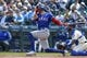 Apr 28, 2019; Seattle, WA, USA; Texas Rangers left fielder Hunter Pence (24) hits a two-run home run against the Seattle Mariners during the third inning at T-Mobile Park. Mandatory Credit: Joe Nicholson-USA TODAY Sports