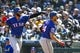 Apr 28, 2019; Seattle, WA, USA; Texas Rangers right fielder Nomar Mazara (30) greets left fielder Hunter Pence (24) following a two-run home run by Pence against the Seattle Mariners during the third inning at T-Mobile Park. Mandatory Credit: Joe Nicholson-USA TODAY Sports