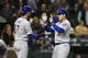 Apr 30, 2019; Seattle, WA, USA; Chicago Cubs first baseman Anthony Rizzo (44) is greeted by designated hitter Kris Bryant (17) after hitting a two-run home run against the Seattle Mariners during the fifth inning at T-Mobile Park. Mandatory Credit: Joe Nicholson-USA TODAY Sports