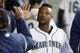 Apr 30, 2019; Seattle, WA, USA; Seattle Mariners shortstop Tim Beckham (1) exchanges high-fives in the dugout after scoring a run against the Chicago Cubs during the fourth inning at T-Mobile Park. Mandatory Credit: Joe Nicholson-USA TODAY Sports