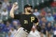 Apr 30, 2019; Arlington, TX, USA; Pittsburgh Pirates relief pitcher Jordan Lyles (31) throws a pitch in the first inning against the Texas Rangers at Globe Life Park in Arlington.  Mandatory Credit: Tim Heitman-USA TODAY Sports