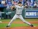 Apr 9, 2019; Kansas City, MO, USA; Seattle Mariners starting pitcher Marco Gonzales (7) pitches against the Kansas City Royals at Kauffman Stadium. Mandatory Credit: Jay Biggerstaff-USA TODAY Sports
