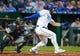 Apr 9, 2019; Kansas City, MO, USA; Kansas City Royals left fielder Alex Gordon   (4) bats against the Seattle Mariners at Kauffman Stadium. Mandatory Credit: Jay Biggerstaff-USA TODAY Sports