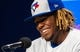 Apr 26, 2019; Toronto, Ontario, CAN; Toronto Blue Jays third baseman Vladimir Guerrero Jr. (27) speaks at a press conference before his MLB debut against the Oakland Athletics at Rogers Centre. Mandatory Credit: Kevin Sousa-USA TODAY Sports