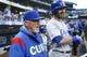 Apr 30, 2019; Seattle, WA, USA; Chicago Cubs manager Joe Maddon (70) talks with second baseman Daniel Descalso (3) in the dugout before the first inning against the Seattle Mariners at T-Mobile Park. Mandatory Credit: Joe Nicholson-USA TODAY Sports