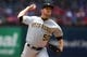 May 1, 2019; Arlington, TX, USA; Pittsburgh Pirates starting pitcher Jameson Taillon (50) delivers during the first inning against the Texas Rangers at Globe Life Park in Arlington. Mandatory Credit: Shanna Lockwood-USA TODAY Sports