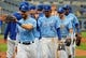 May 1, 2019; Kansas City, MO, USA; The Kansas City Royals celebrate after defeating the Tampa Bay Rays in the first game of a baseball doubleheader at Kauffman Stadium. Mandatory Credit: Jay Biggerstaff-USA TODAY Sports