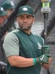 May 3, 2019; Pittsburgh, PA, USA;  Oakland Athletics first baseman Kendrys Morales (12) at the batting cage before playing the Pittsburgh Pirates at PNC Park. Mandatory Credit: Charles LeClaire-USA TODAY Sports