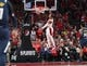May 5, 2019; Portland, OR, USA; Portland Trail Blazers guard Damian Lillard (0) dunks against the Denver Nuggets in the first half of game four of the second round of the 2019 NBA Playoffs at Moda Center. Mandatory Credit: Jaime Valdez-USA TODAY Sports
