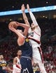 May 5, 2019; Portland, OR, USA; Portland Trail Blazers center Enes Kanter (00) pressures Denver Nuggets center Nikola Jokic (15) in the first half of game four of the second round of the 2019 NBA Playoffs at Moda Center. Mandatory Credit: Jaime Valdez-USA TODAY Sports