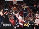 May 5, 2019; Portland, OR, USA; Portland Trail Blazers guard Damian Lillard (0) shoots against Denver Nuggets forwardTorrey Craig (3) and forward Paul Millsap (4) in the first half of game four of the second round of the 2019 NBA Playoffs at Moda Center. Mandatory Credit: Jaime Valdez-USA TODAY Sports