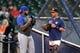 May 6, 2019; Houston, TX, USA; Kansas City Royals catcher Martin Maldonado (16) talks with Houston Astros bullpen catcher Javier Bracamonte (85) prior to the game at Minute Maid Park. Mandatory Credit: Erik Williams-USA TODAY Sports