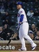 May 6, 2019; Chicago, IL, USA; Chicago Cubs first baseman Anthony Rizzo (44) watches his a two run home run ball leave the park in the first inning against the Miami Marlins at Wrigley Field. Mandatory Credit: Quinn Harris-USA TODAY Sports