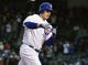 May 6, 2019; Chicago, IL, USA; Chicago Cubs first baseman Anthony Rizzo (44) reacts rounding the bases after hitting a two run home run against the Miami Marlins at Wrigley Field. Mandatory Credit: Quinn Harris-USA TODAY Sports