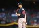 May 9, 2019; Phoenix, AZ, USA; Atlanta Braves pitcher Mike Soroka in the first inning against the Arizona Diamondbacks at Chase Field. Mandatory Credit: Mark J. Rebilas-USA TODAY Sports