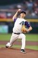 May 9, 2019; Phoenix, AZ, USA; Arizona Diamondbacks pitcher Luke Weaver throws against the Atlanta Braves at Chase Field. Mandatory Credit: Mark J. Rebilas-USA TODAY Sports