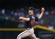 May 9, 2019; Phoenix, AZ, USA; Atlanta Braves pitcher Mike Soroka pitches in the first inning against the Arizona Diamondbacks at Chase Field. Mandatory Credit: Mark J. Rebilas-USA TODAY Sports