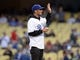 May 10, 2019; Los Angeles, CA, USA; PGA golfer Max Home greets spectators before throwing the ceremony first pitch at Dodger Stadium. Mandatory Credit: Gary A. Vasquez-USA TODAY Sports