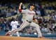 May 10, 2019; Los Angeles, CA, USA; Washington Nationals starting pitcher Anibal Sanchez (19) throws against the Los Angeles Dodgers during the first inning at Dodger Stadium. Mandatory Credit: Gary A. Vasquez-USA TODAY Sports