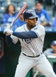 May 1, 2019; Kansas City, MO, USA; Tampa Bay Rays third baseman Yandy Diaz  (2) bats against the Kansas City Royals in the first game of a baseball doubleheader at Kauffman Stadium. Mandatory Credit: Jay Biggerstaff-USA TODAY Sports