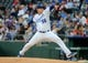 May 11, 2019; Kansas City, MO, USA; Kansas City Royals starting pitcher Brad Keller  (56) pitches against the Philadelphia Phillies in the first inning at Kauffman Stadium. Mandatory Credit: Jay Biggerstaff-USA TODAY Sports