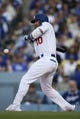 May 11, 2019; Los Angeles, CA, USA; Los Angeles Dodgers third baseman Justin Turner (10) braces himself to be hit by a pitch by Washington Nationals starting pitcher Max Scherzer (not pictured) during the first inning at Dodger Stadium. Mandatory Credit: Kelvin Kuo-USA TODAY Sports