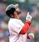 May 12, 2019; Boston, MA, USA; Boston Red Sox right fielder J.D. Martinez (28) reacts after hitting a home run during the first inning against the Seattle Mariners at Fenway Park. Mandatory Credit: Bob DeChiara-USA TODAY Sports