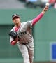 May 12, 2019; Boston, MA, USA; Seattle Mariners starting pitcher Marco Gonzales (7) pitches during the first inning against the Boston Red Sox at Fenway Park. Mandatory Credit: Bob DeChiara-USA TODAY Sports