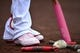 May 12, 2019; St. Louis, MO, USA; A detailed view of St. Louis Cardinals left fielder Marcell Ozuna (23) shoes and a hand written message to his mom in honor of Mother's Day during the first inning against the Pittsburgh Pirates at Busch Stadium. Mandatory Credit: Jeff Curry-USA TODAY Sports