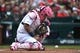 May 12, 2019; St. Louis, MO, USA; St. Louis Cardinals catcher Yadier Molina (4) reacts after Pittsburgh Pirates catcher Francisco Cervelli (not pictured) is hit by a pitch during the first inning at Busch Stadium. Mandatory Credit: Jeff Curry-USA TODAY Sports
