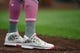 May 12, 2019; St. Louis, MO, USA; A detailed view of St. Louis Cardinals catcher Yadier Molina (4) cleats in honor of Mother's Day during the first inning against the Pittsburgh Pirates at Busch Stadium. Mandatory Credit: Jeff Curry-USA TODAY Sports