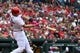 May 12, 2019; St. Louis, MO, USA; St. Louis Cardinals first baseman Paul Goldschmidt (46) hits a two-run home run off of Pittsburgh Pirates starting pitcher Steven Brault (not pictured) during the first inning at Busch Stadium. Mandatory Credit: Jeff Curry-USA TODAY Sports