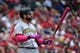 May 12, 2019; St. Louis, MO, USA; Pittsburgh Pirates catcher Francisco Cervelli (29) bats during the first inning against the St. Louis Cardinals at Busch Stadium. Mandatory Credit: Jeff Curry-USA TODAY Sports