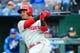 May 11, 2019; Kansas City, MO, USA; Philadelphia Phillies shortstop Jean Segura (2) bats against the Kansas City Royals at Kauffman Stadium. Mandatory Credit: Jay Biggerstaff-USA TODAY Sports
