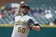May 19, 2019; Detroit, MI, USA; Oakland Athletics starting pitcher Mike Fiers (50) pitches in the first inning against the Detroit Tigers at Comerica Park. Mandatory Credit: Rick Osentoski-USA TODAY Sports