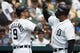 May 19, 2019; Detroit, MI, USA; Detroit Tigers right fielder Nicholas Castellanos (9) is congratulated by designated hitter Miguel Cabrera (right) after hitting a home run in the third inning against the Oakland Athletics at Comerica Park. Mandatory Credit: Rick Osentoski-USA TODAY Sports