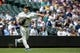 May 19, 2019; Seattle, WA, USA; Seattle Mariners starting pitcher Yusei Kikuchi (18) makes the throw to first base for the out on Minnesota Twins first baseman C.J. Chron (24) in the first inning at T-Mobile Park. Mandatory Credit: Lindsey Wasson-USA TODAY Sports