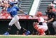 May 19, 2019; Anaheim, CA, USA; Kansas City Royals shortstop Adalberto Mondesi (27) hits an RBI single against the Los Angeles Angels during the third inning at Angel Stadium of Anaheim. Mandatory Credit: Gary A. Vasquez-USA TODAY Sports