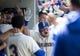 May 19, 2019; Seattle, WA, USA; Seattle Mariners designated hitter Daniel Vogelbach (20) celebrates with teammates in the dugout after hitting a home run in the fifth inning against the Minnesota Twins at T-Mobile Park. Mandatory Credit: Lindsey Wasson-USA TODAY Sports