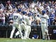 May 19, 2019; Seattle, WA, USA; Seattle Mariners first baseman Edwin Encarnacion (10) at second from left celebrates his three-run home run with right fielder Mitch Haniger (17) and designated hitter Daniel Vogelbach (20) and left fielder Domingo Santana (16) at right in the seventh inning against the Minnesota Twins at T-Mobile Park. Mandatory Credit: Lindsey Wasson-USA TODAY Sports