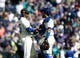 May 19, 2019; Seattle, WA, USA; Seattle Mariners relief pitcher Roenis Elias (55) greets catcher Omar Narvaez (22) after getting the 7-4 victory over the Minnesota Twins at T-Mobile Park. Mandatory Credit: Lindsey Wasson-USA TODAY Sports