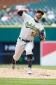 May 19, 2019; Detroit, MI, USA; Oakland Athletics starting pitcher Mike Fiers (50) pitches against the Detroit Tigers at Comerica Park. Mandatory Credit: Rick Osentoski-USA TODAY Sports