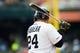 May 19, 2019; Detroit, MI, USA; Detroit Tigers first baseman Miguel Cabrera (24) at bat against the Oakland Athletics at Comerica Park. Mandatory Credit: Rick Osentoski-USA TODAY Sports