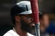 May 19, 2019; Detroit, MI, USA; Detroit Tigers second baseman Josh Harrison (1) gets set to bat against the Oakland Athletics at Comerica Park. Mandatory Credit: Rick Osentoski-USA TODAY Sports
