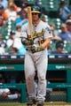 May 19, 2019; Detroit, MI, USA; Oakland Athletics catcher Josh Phegley (19) at bat against the Detroit Tigers at Comerica Park. Mandatory Credit: Rick Osentoski-USA TODAY Sports