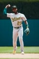 May 19, 2019; Detroit, MI, USA; Oakland Athletics shortstop Jurickson Profar (23) in the field against the Detroit Tigers at Comerica Park. Mandatory Credit: Rick Osentoski-USA TODAY Sports