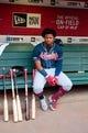 May 9, 2019; Phoenix, AZ, USA; Atlanta Braves outfielder Ronald Acuna Jr. reacts against the Arizona Diamondbacks at Chase Field. Mandatory Credit: Mark J. Rebilas-USA TODAY Sports