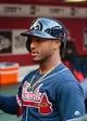 May 9, 2019; Phoenix, AZ, USA; Atlanta Braves second baseman Ozzie Albies against the Arizona Diamondbacks at Chase Field. Mandatory Credit: Mark J. Rebilas-USA TODAY Sports