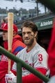 May 21, 2019; Chicago, IL, USA; Philadelphia Phillies right fielder Bryce Harper (3) smiles in the dugout prior to a game against the Chicago Cubs at Wrigley Field. Mandatory Credit: Patrick Gorski-USA TODAY Sports